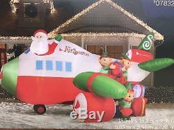 NIB 18.5ft Christmas Airblown Inflatable Massive Airplane! Air Santa