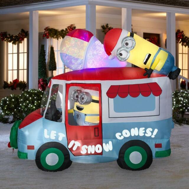 Nib 8.5 Ft Despicable Me Minions Snow Cone Truck Inflatable Christmas Air Blown