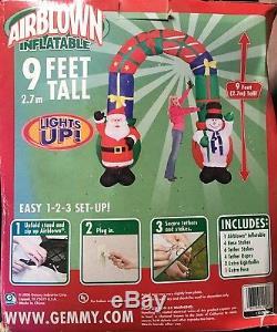 NIB 9' Gemmy Airblown Inflatable Santa & Snowman Christmas Archway 2006