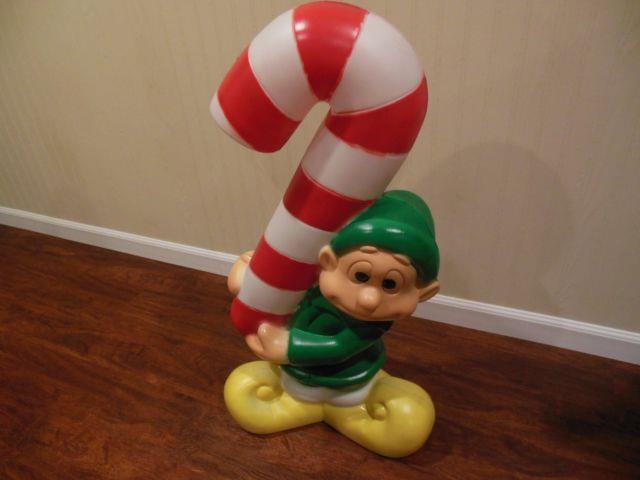 Nos Elf Holding Candy Cane Lighted Christmas Blow Mold Outdoor Yard Decor