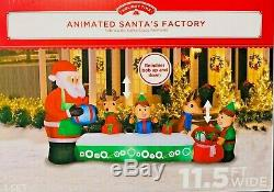 New 11.5 Ft Long Giant Sized Christmas Animated Santa's Factory Inflatable Gemmy