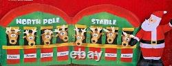 New 11 Ft Long Giant Sized Christmas Santa Reindeer Stable Inflatable By Gemmy