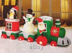 New 11 Ft Train Scene Lighted Inflatable Santa Snowman Penguin Christmas 5.6