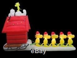 New 12 Ft Long Gemmy Christmas Peanuts Snoopy Woodstock Sledding Inflatable