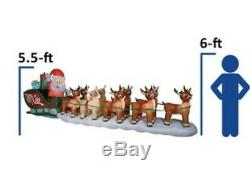 New 17.5 COLOSSAL Lighted Santa & Rudolph Reindeer Sleigh Airblown Inflatable