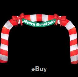 New 23 Ft x 15 Inflatable Lighted Giant Candy Cane Archway Merry Christmas Bows