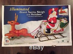 New 72 Christmas Lighted Blow Mold Santa In Sleigh & Reindeer Yard Decorwtion