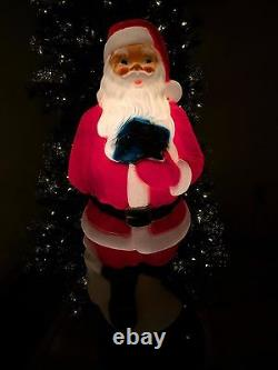 New Christmas 34 Santa Claus With Blue Present Lighted Blow Mold Yard Decor