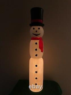 New Christmas 38 Drainage Slim Lighted Blow Mold Snowman Porch Decoration