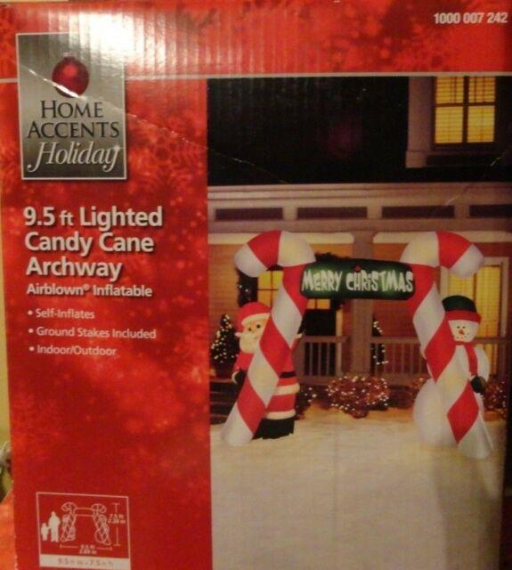 New Christmas Airblown Inflatable Huge 9.5 Foot Candy Cane Archway Yard Deco