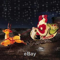 New Christmas Santa Sleigh with Reindeer Sled Blow Mold Xmas Yard Decor Roof Top