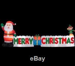 New Gemmy 12 ft Long Inflatable Merry Christmas Sign Elf Santa Lights Up Decor