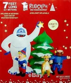 New Gemmy Christmas Airblown Inflatable Bumble Rudloph Tree Cornelius & Misfits
