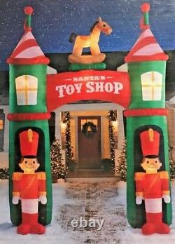 New Giant 12 Ft Tall Lighted Santa's Toy Shop Archway Christmas Inflatable Gemmy