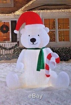 New Giant 9 Ft Tall Lighted Christmas Santa Polar Bear Candy Inflatable By Gemmy