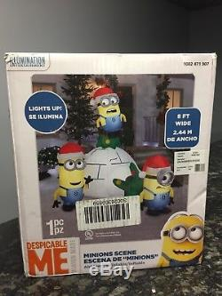 New Inflatable Christmas Lighted Minions Igloo Scene Yard Decoration Outdoor LED