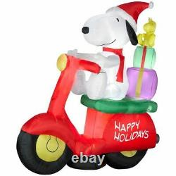 Nib Snoopy Woodstock Christmas Inflatable Airblown Moped Scooter Motorcycle