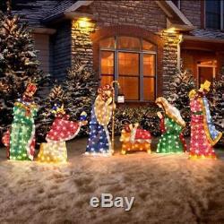 Outdoor 6pc Lighted Nativity Scene Holy Family Display Christmas Yard Decor