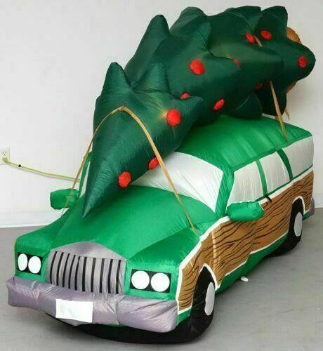 Outdoor 8' Lighted Airblown Inflatable Griswold Station Wagon With Christmas Tree