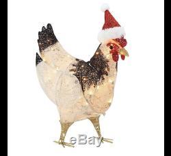 Outdoor Christmas Decor Chicken Santa Hat Lighted Yard Art Indoor Xmas 22 LED