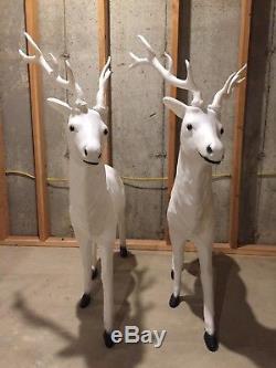 PICK UP ONLY Large White Santa's Best Reindeer Deer Christmas Blowmold Pair