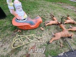 POLORON REINDEER DEER and sleigh set CHRISTMAS BLOW MOLD LIGHT YARD DECOR VTG