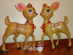 Pair Blow Mold Reindeer Fawn Deer Standing LED Christmas 23.5 Medium Light Up