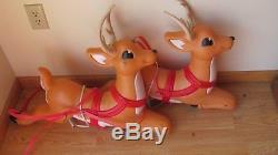 Pair Santa Sleigh Reindeer Christmas Blowmold 26 Long Grand Venture