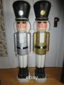 Pair of Blow Mold Nutcracker 1 SILVER & 1 GOLD Christmas Outdoor VERY RARE NEW