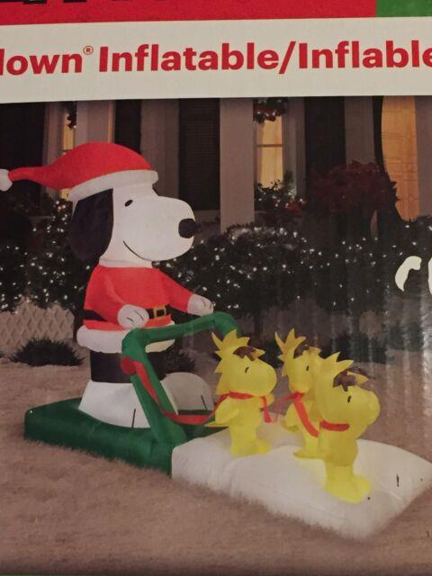 Peanuts Snoopy Pushing Woodstock On Sleigh Lighted Christmas Inflatable Airblown