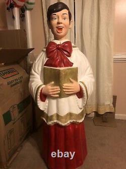Poloron 50 Caroler Boy Blow Mold Choir Singer Christmas Vtg Yard Decor