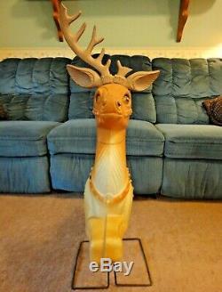 Poloron Reindeer Deer Christmas Blow Mold Light Yard Decor Vtg Santa Sleigh 34