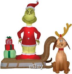 Pre-Order GRINCH AND MAX ON SLED Christmas Airblown Lighted Yard Inflatable