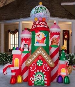 Pre-order 10.5 Ft SANTA'S CANDY CASTLE Airblown Inflatable SWIRLING LIGHTS