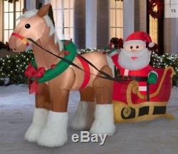 Pre-order 9.5 Ft SANTA & CLYDESDALE HORSE DRAWN SLEIGH Airblown Inflatable
