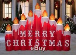 Pre-order 9 Ft CANDLES W MERRY CHRISTMAS SIGN Airblown Lighted Yard Inflatable
