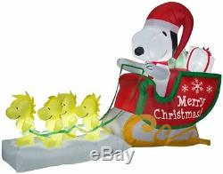 Pre-order-christmas 8 Ft Santa Snoopy Woodstock Sleigh Sled Airblown Inflatable