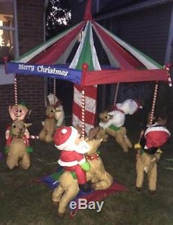 RARE 7' Ft. Animated Christmas Carousel withreindeer Huge Life size Yard/Outdoor