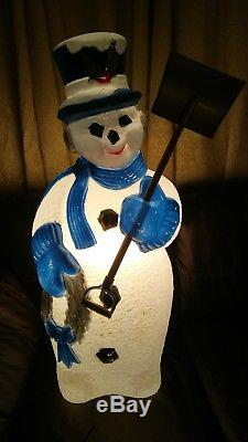RARE Christmas blue silver Snowman with shovel blow mold light up lawn decoration