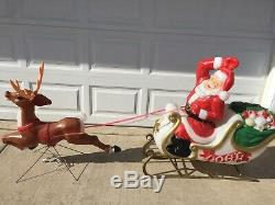 RARE Empire Mold Giant Santa Claus Sleigh Reindeer Noel Christmas Blow Mold