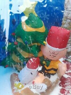 RARE Gemmy PEANUTS SNOOPY Christmas Inflatable Snow Globe WORKS withBOX