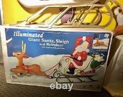 RARE General Foam 36 Reindeer Lighted Blow Mold In Box! Santa Sleigh Vintage
