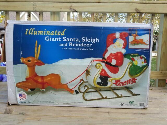 Rare Giant Santa Claus Sleigh Reindeer Noel Christmas Blow Mold Light Illuminate