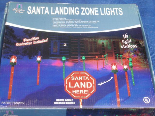 Rare New 45' Long Christmas Santa Stop Here Runway Landing Zone 16 Lights Rare