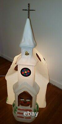 RARE Vintage 40 Empire CHURCH Christmas Blow Mold With Steeple