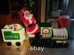 RARE Vintage Santa Railroad Train Christmas Yard Blow Mold