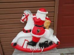 RARE Vintage Union Santa on Rocking Horse Christmas Blow Mold Yard Decor 3' Wide