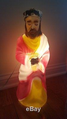 Rare 10 piece Empire Blow Mold light up Nativity Scene Christmas
