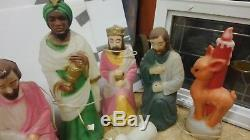 Rare 10 piece Empire blow mold light up nativity scene for indoors / Outdoors