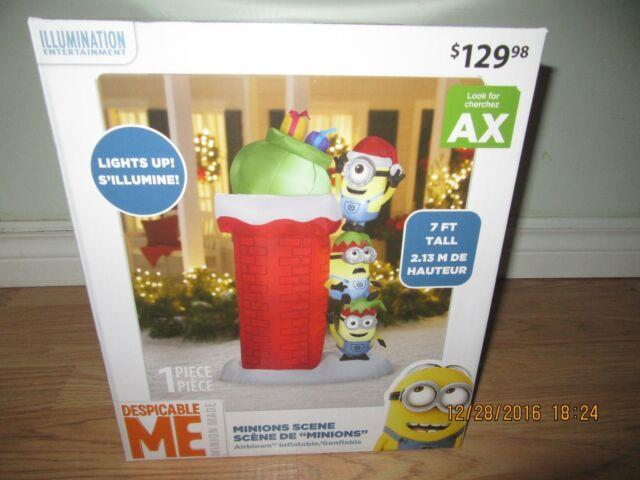 Rare 7 Foot Inflatable Minions Christmas Climbing Chimney $229.99 New